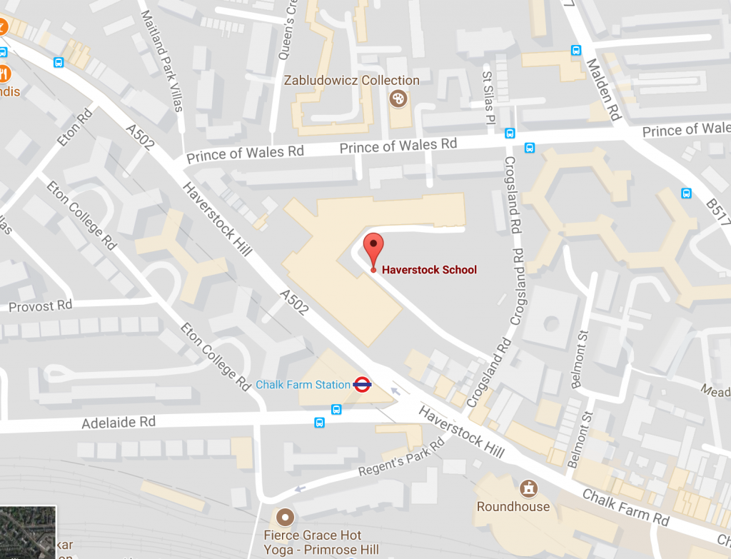 google map view of haverstock school